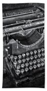 Old Fashioned Underwood Typewriter Bw Bath Towel