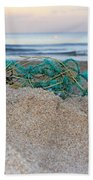 Old Fishing Net On Beach Bath Towel