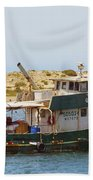 Old Green Scow Morro Bay Harbor Bath Towel