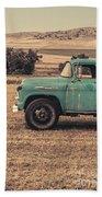 Old Hay Truck In The Field Bath Towel