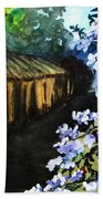 Old House And New Flowers Bath Towel