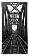 Old Huron River Rxr Bridge Black And White  Hand Towel