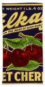 Cherries Antique Food Package Label Bath Towel