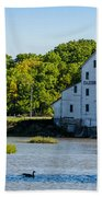 Old Mill On Grand River In Caledonia In Ontario Bath Towel