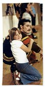 Old School Roller Derby Skater And His Number One Fan Bath Towel