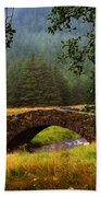 Old Stone Bridge Over Kinglas River. Scotland Bath Towel