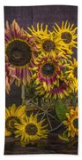 Old Sunflowers Bath Towel