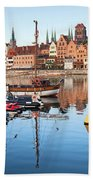 Old Town Of Gdansk Skyline And Marina Bath Towel