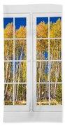 Old Triple16 Pane White Window Colorful Autumn Aspen Forest View Bath Towel