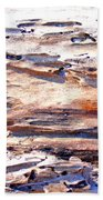 Old Weathered Log On The Sea Shore Bath Towel