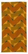 Olive Green And Orange Chevron Collage Bath Towel