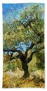 Olive Tree On Van Gogh Manner Bath Towel