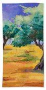 Olive Trees Grove Bath Towel