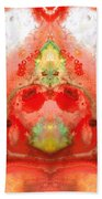 Om - Red Meditation - Abstract Art By Sharon Cummings Hand Towel