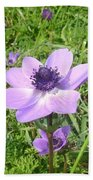 One Delicate Pale Lilac Anemone Coronaria Wild Flower Bath Towel