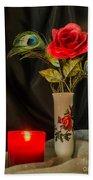 One Red Christmas Rose Bath Towel