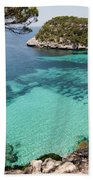 One Step To Paradise - Cala Mitjana Beach In Menorca Is A Turquoise A Cristaline Water Paradise Bath Towel