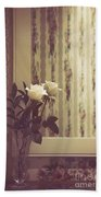 One White Rose Bath Towel
