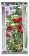 Open Window View Onto Wild Flower Garden Bath Towel