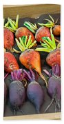 Orange And Purple Beet Vegetables In Wood Box Art Prints Bath Towel