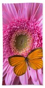 Orange Butterfly On Pink Daisy Hand Towel