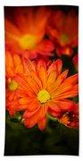 Orange Chrysanthemum Bath Towel