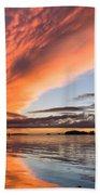 Orange Clouds Over Humboldt Bay Bath Towel