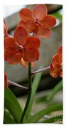 Orange Colored Orchid Bath Towel