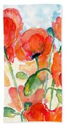 Orange Field Of Poppies Watercolor Bath Towel