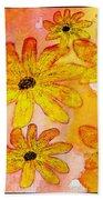 Orange Flowers Galore Digital Art Bath Towel