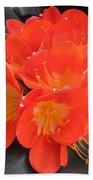 Bright Orange Flowers Bath Towel