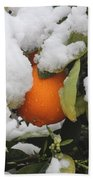 Orange In Snow Bath Towel