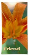 Orange Lily Birthday Bath Towel