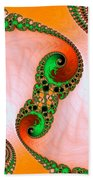 Orange Red And Green Abstract Fractal Art Bath Towel