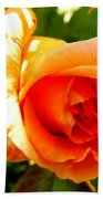 Orange Rose Bloom Bath Towel