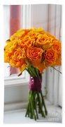 Orange Rose Wedding Bouquet Bath Towel