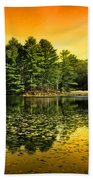 Orange Sunrise Reflection Landscape Bath Towel