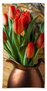 Orange Tulips In Copper Pitcher Bath Towel