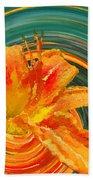 Orange Twist Daylily Photoart Bath Towel