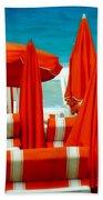 Orange Umbrellas Bath Towel