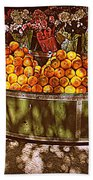 Oranges And Flowers Bath Towel