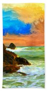 Oregon Coast At Sunset Hand Towel