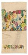 Oregon Map Vintage Watercolor Bath Towel