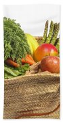 Organic Fruit And Vegetables In Shopping Bag Bath Towel