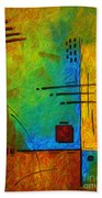 Original Abstract Painting Digital Conversion For Textured Effect Resonating IIi By Madart Bath Towel