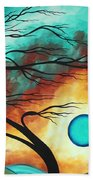 Original Bold Colorful Abstract Landscape Painting Family Joy I By Madart Bath Towel