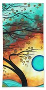 Original Bold Colorful Abstract Landscape Painting Family Joy II By Madart Bath Towel