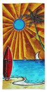 Original Tropical Surfing Whimsical Fun Painting Waiting For The Surf By Madart Bath Towel