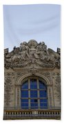 Ornate Architectural Artwork On The Musee Du Louvre Buildings In Paris France  Bath Towel