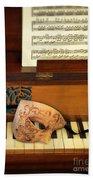 Ornate Mask On Piano Keys Bath Towel